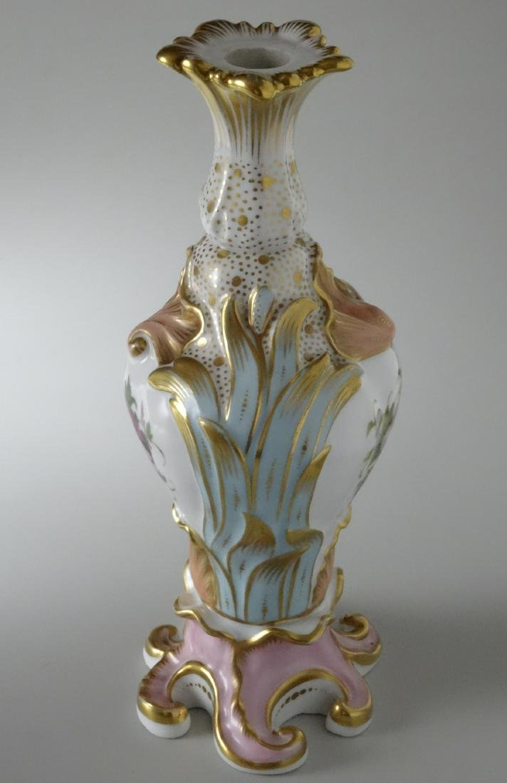 Very Fine Old Paris Porcelain Hand Painted Flacon Vase - 2