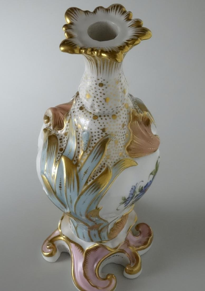 Very Fine Old Paris Porcelain Hand Painted Flacon Vase - 5
