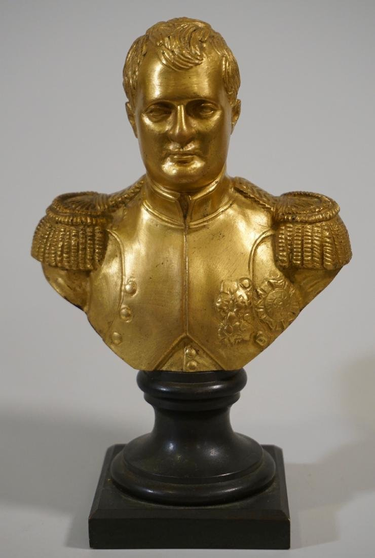 Antique French Gilded Napoleon Bust Bronze Desktop