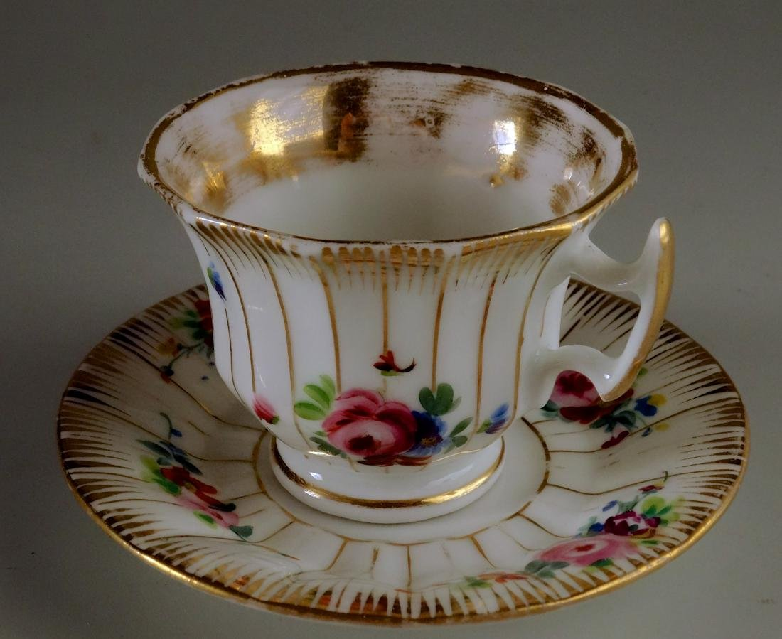 Old Paris Porcelain Demitasse Painted Cup and Saucer
