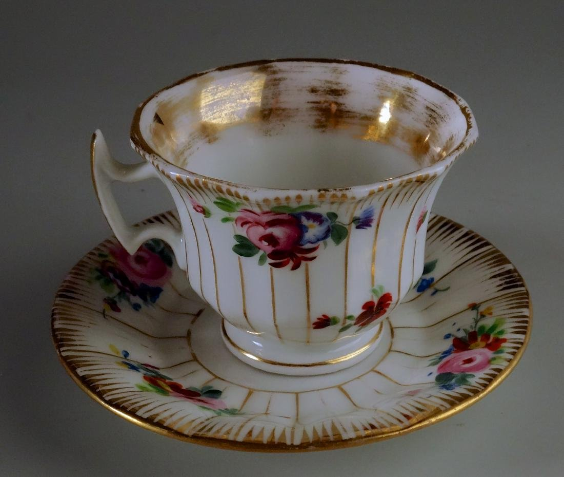 Old Paris Porcelain Demitasse Painted Cup and Saucer - 2