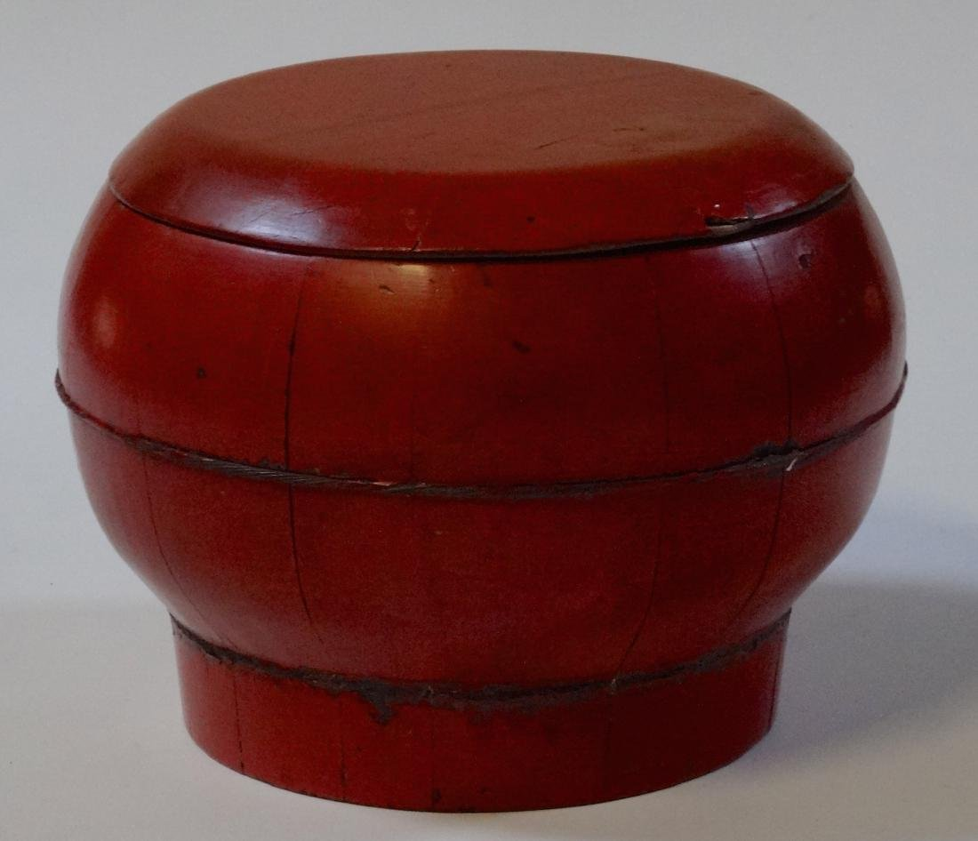 Oriental Antique Wooden Box Bucket Painted Bat Red
