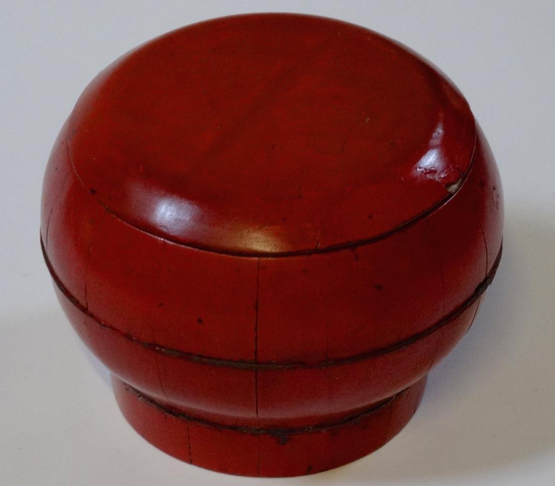 Oriental Antique Wooden Box Bucket Painted Bat Red - 2