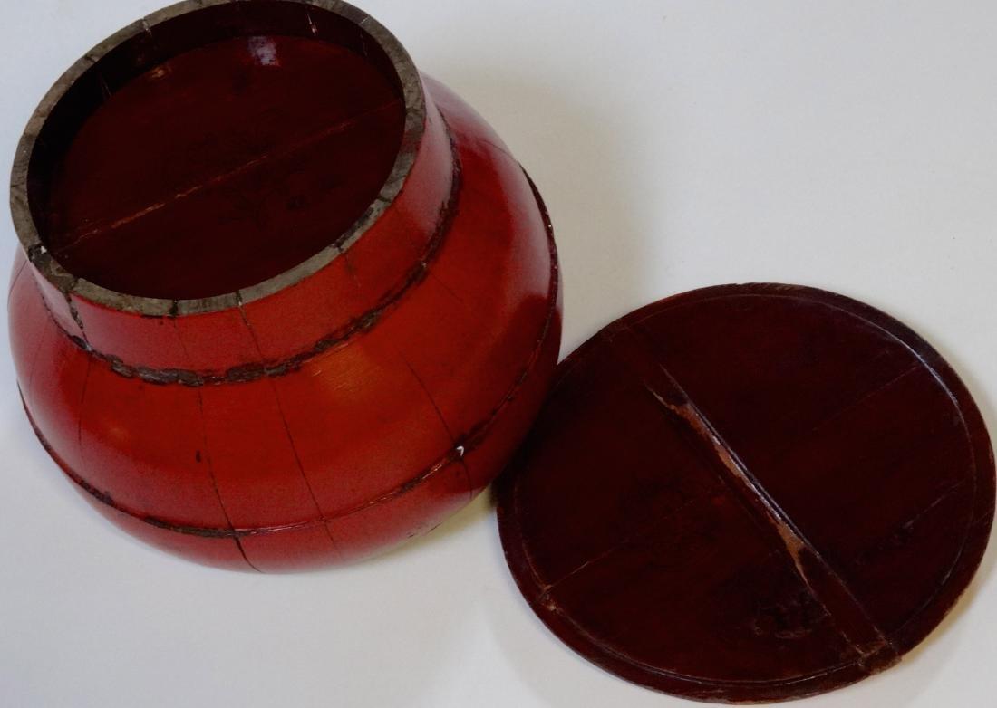 Oriental Antique Wooden Box Bucket Painted Bat Red - 6