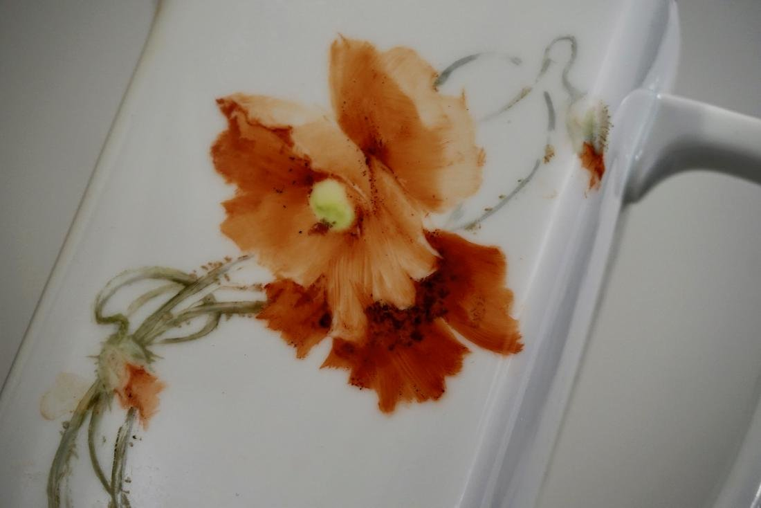 Hand Painted Poppy Antique Porcelain Pitcher Artist - 6