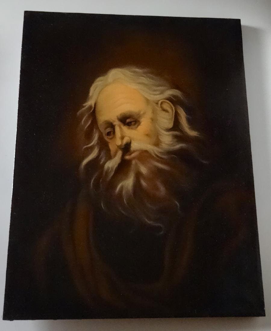 Bearded Biblical Man Old Master Style Oil On Canvas