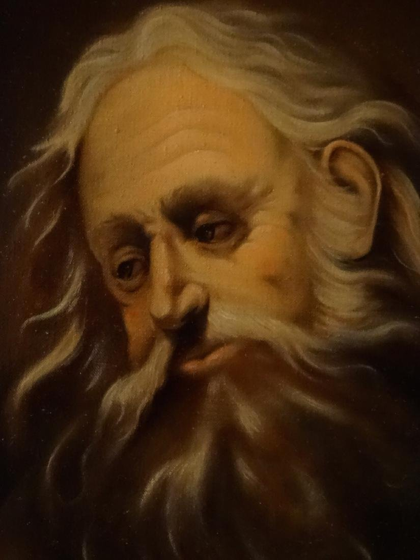 Bearded Biblical Man Old Master Style Oil On Canvas - 2