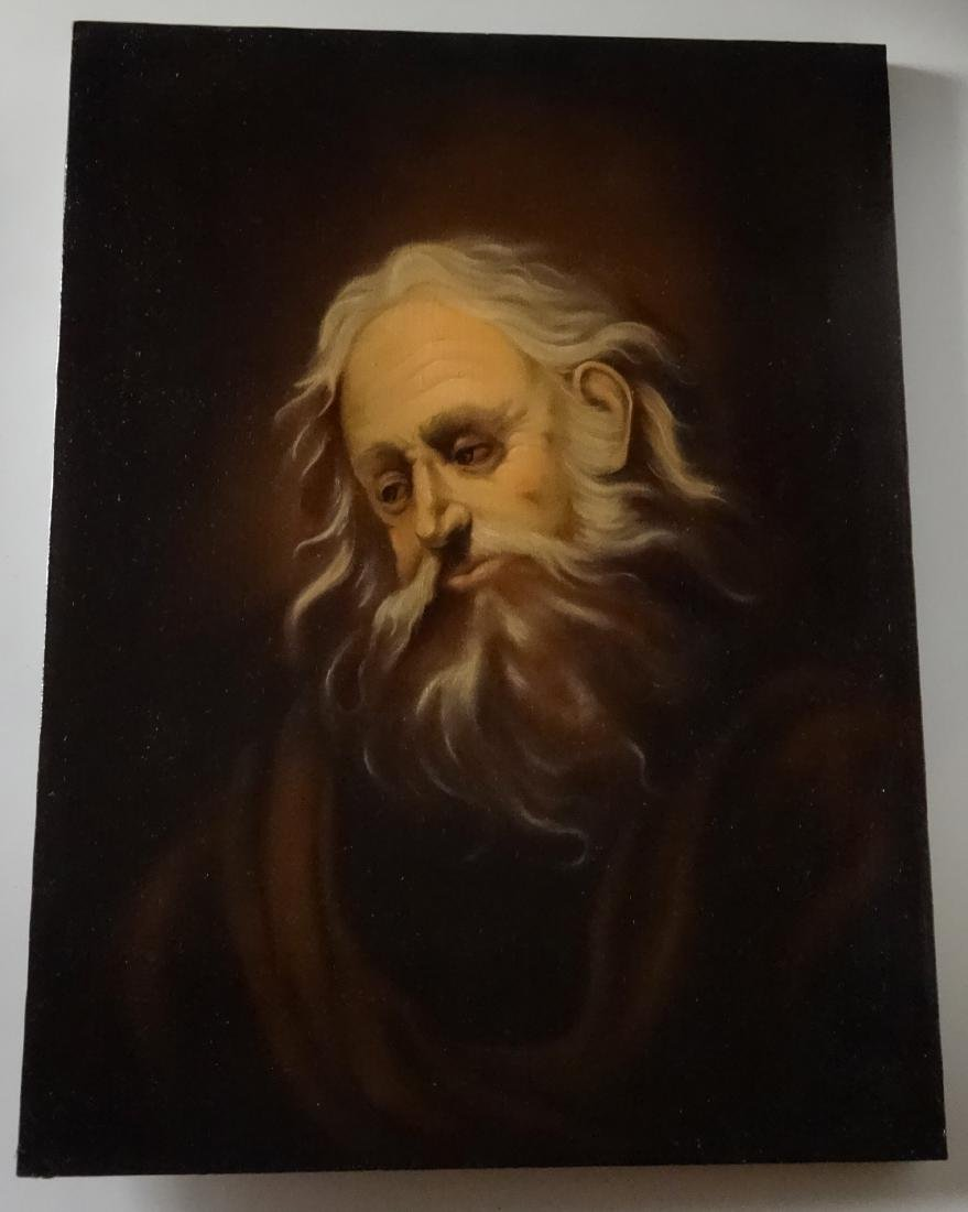 Bearded Biblical Man Old Master Style Oil On Canvas - 4