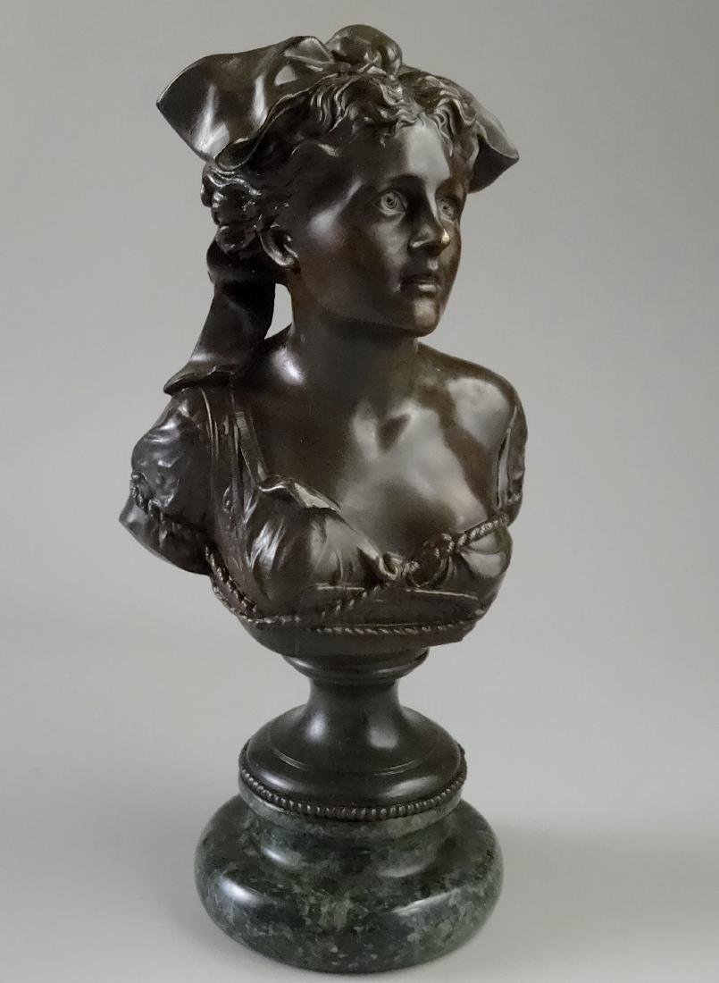 Fine French Spelter Francia Bust on Marble Socle