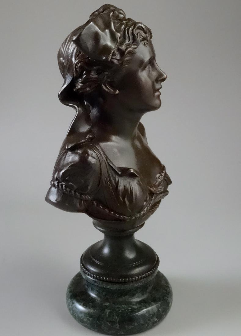 Fine French Spelter Francia Bust on Marble Socle - 2