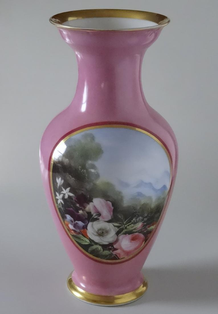 Old Paris Porcelain French Painted Vase Pompadour Pink