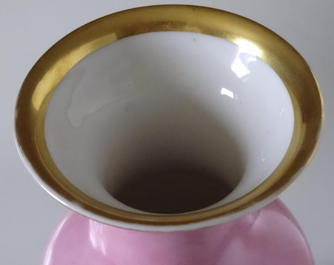 Old Paris Porcelain French Painted Vase Pompadour Pink - 4