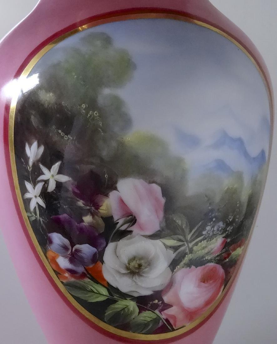 Old Paris Porcelain French Painted Vase Pompadour Pink - 5