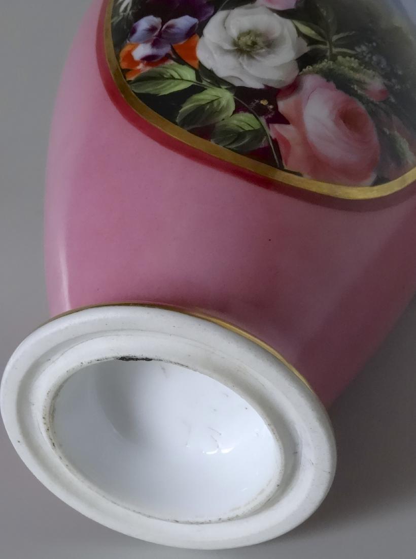 Old Paris Porcelain French Painted Vase Pompadour Pink - 6