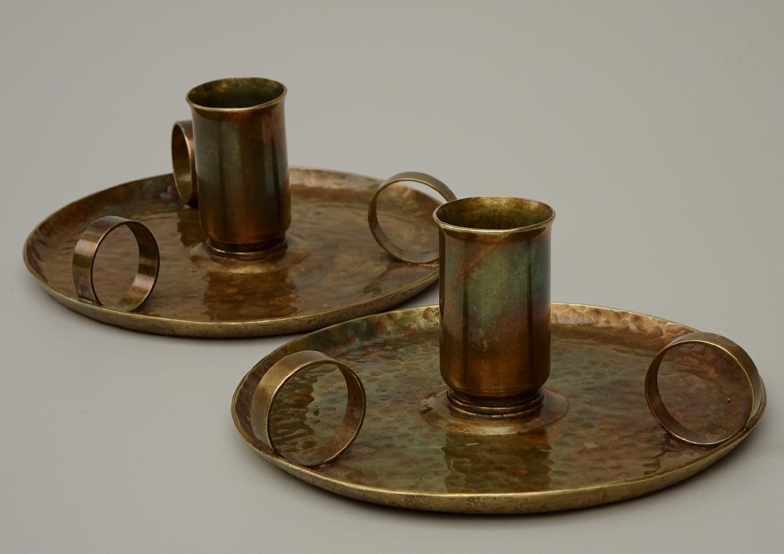 American Art Craft Period Candleholders Chambersticks - 2