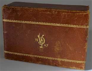 28176456cda Vintage Italian Pietra Dura Leather Cigarette Box