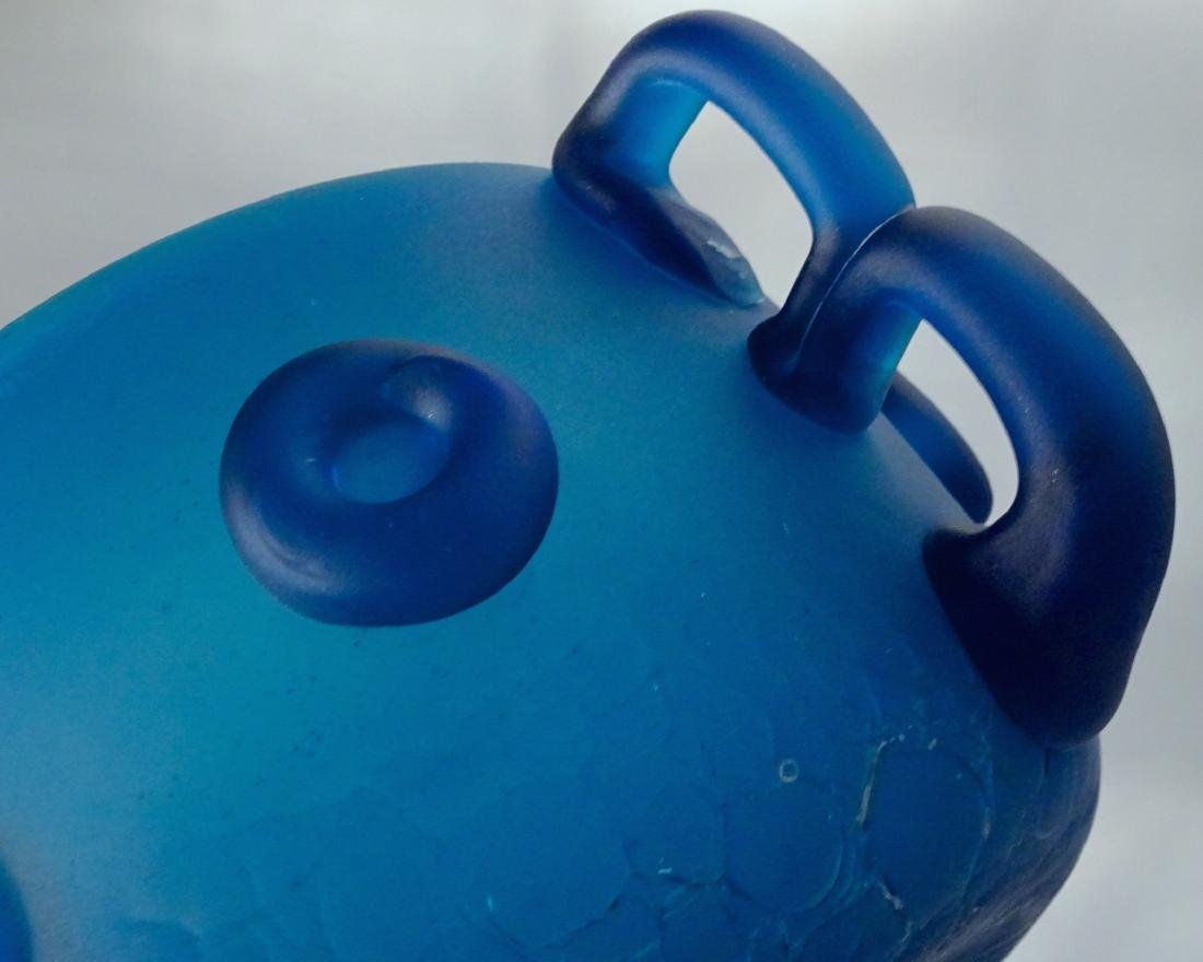 Vintage Art Studio Beach Glass Blue Bowl Abstract Vase - 3