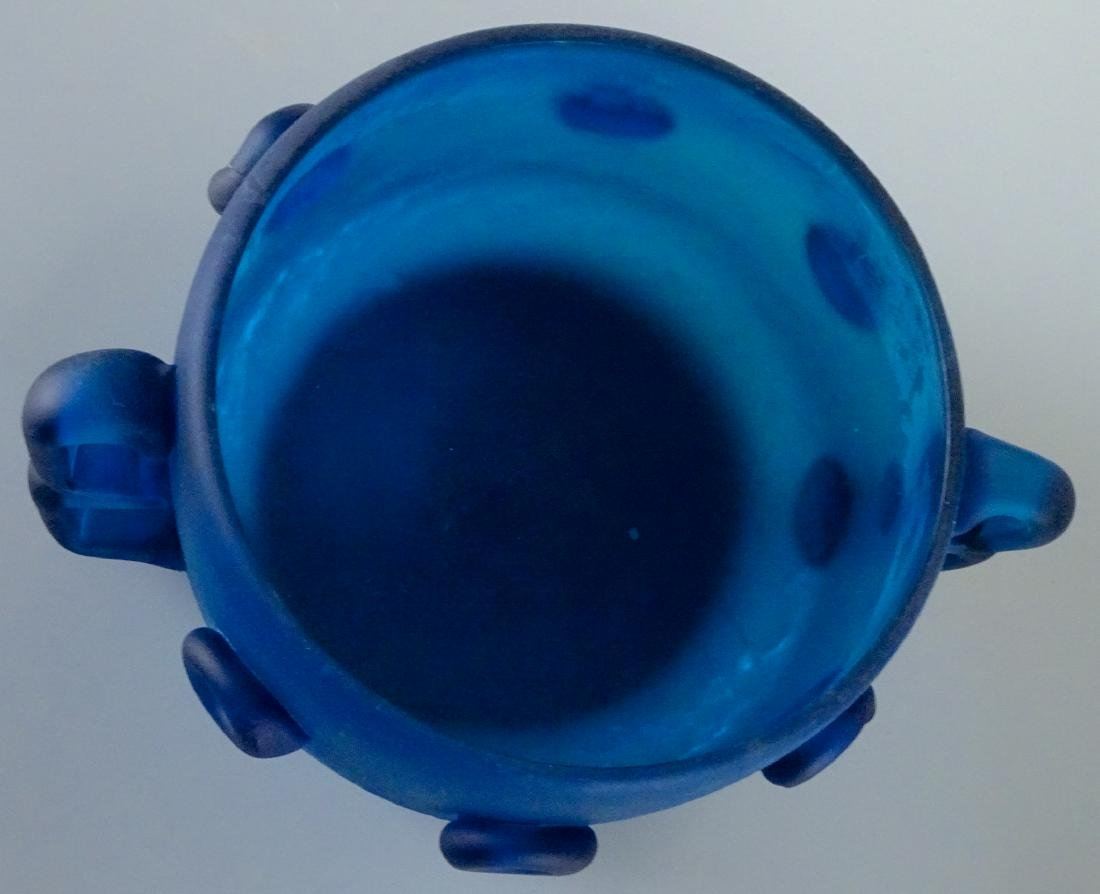 Vintage Art Studio Beach Glass Blue Bowl Abstract Vase - 5