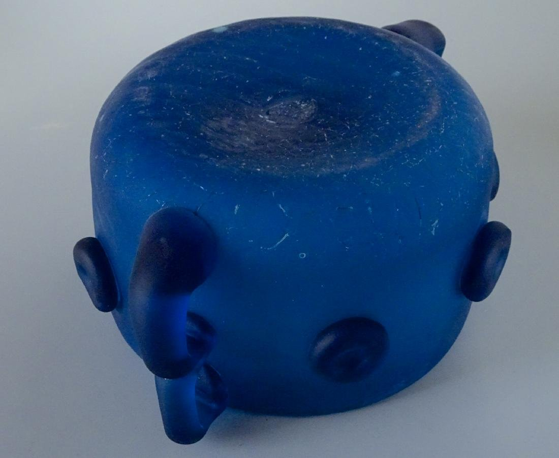 Vintage Art Studio Beach Glass Blue Bowl Abstract Vase - 6