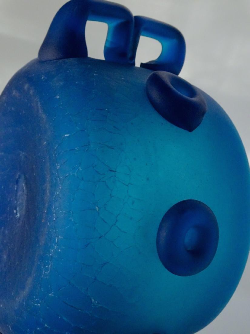 Vintage Art Studio Beach Glass Blue Bowl Abstract Vase - 8
