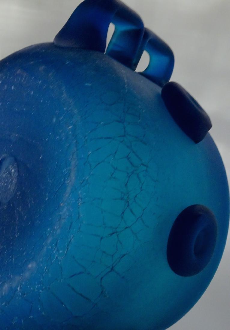 Vintage Art Studio Beach Glass Blue Bowl Abstract Vase - 9