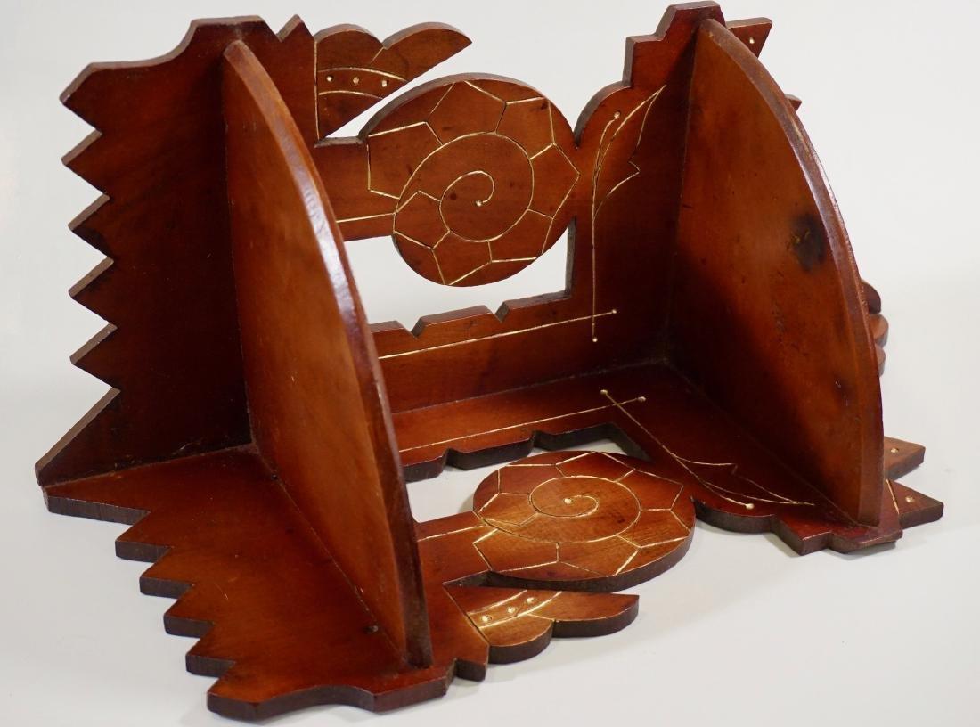Antique Eastlake Carved Wood Corner Shelf c 1910 - 2