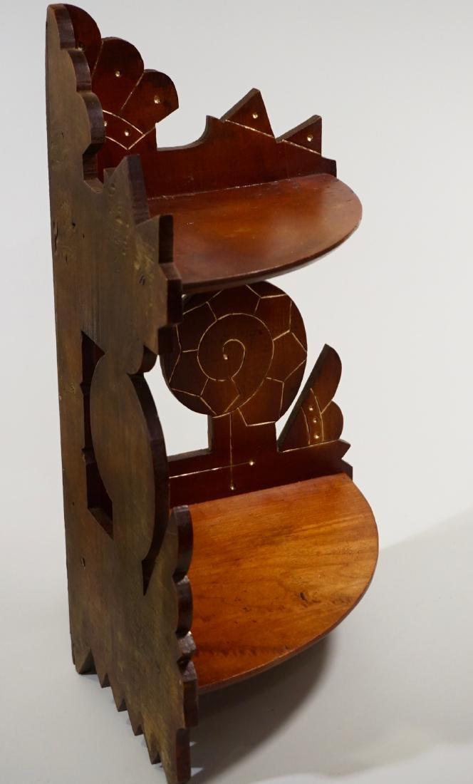 Antique Eastlake Carved Wood Corner Shelf c 1910 - 6