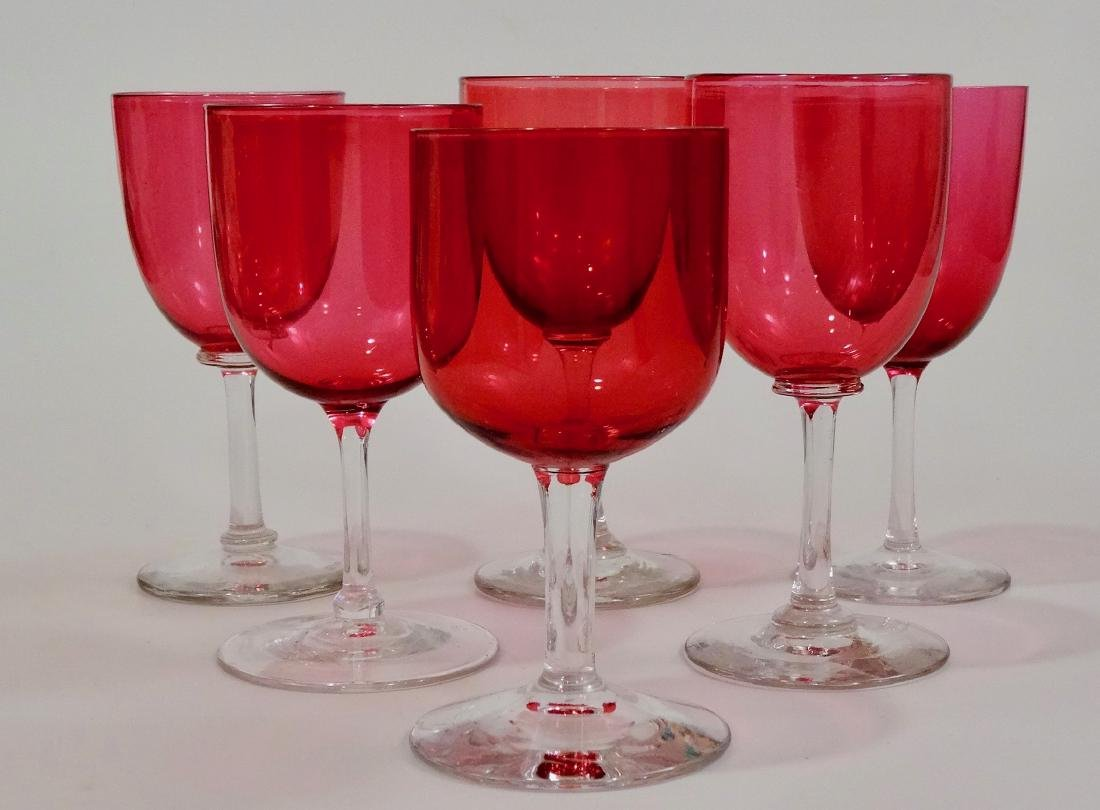 Antique Victorian Cranberry Wine Glasses Assembled