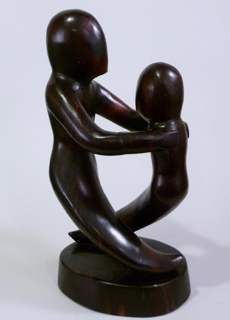 Mid Century Abstract Ebony Wood Carving Sculpture