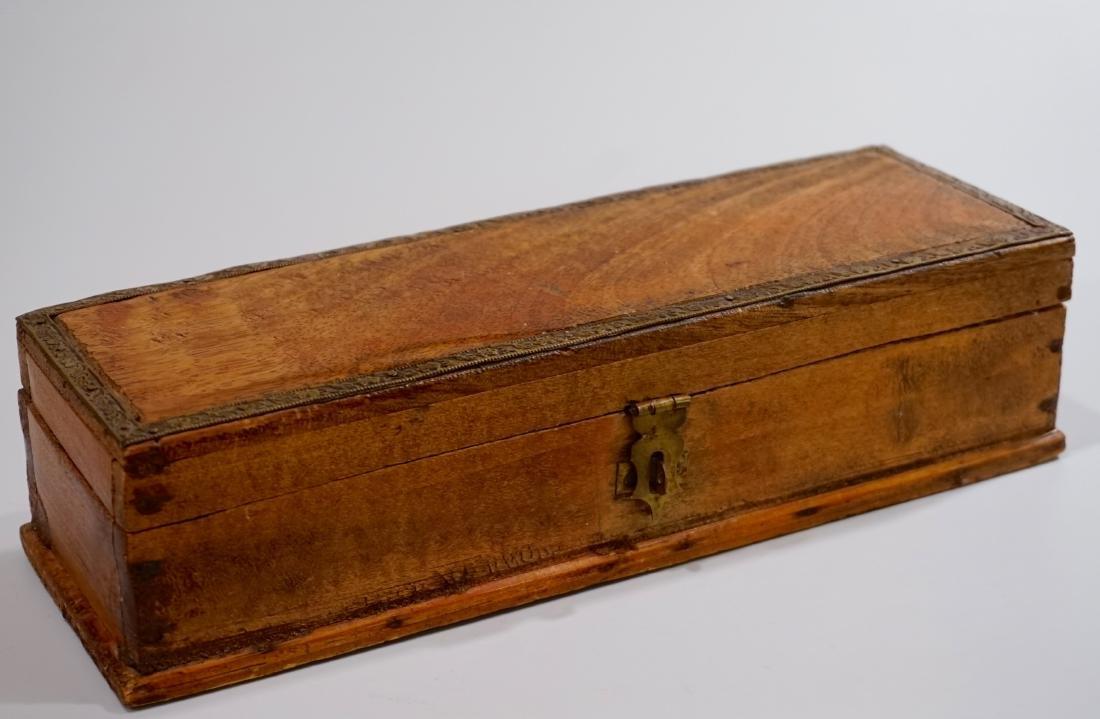 Vintage Pen Box with Brass Trim