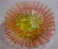 Victorian Watermelon Art Glass Duo Reeded Crimped Bowl