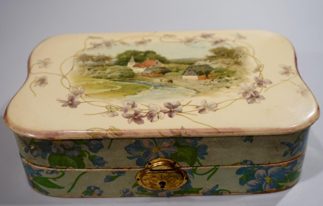 Victorian Antique Celluloid Jewelry Watch Box Country
