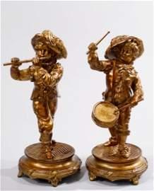 Pair Antique Spelter Figurines Marching Drummer Flute