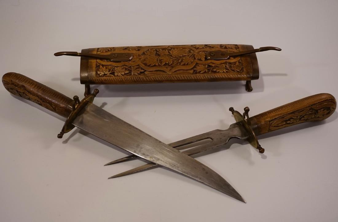 Carving Set Knife Fork Carved Scabbard and Handles