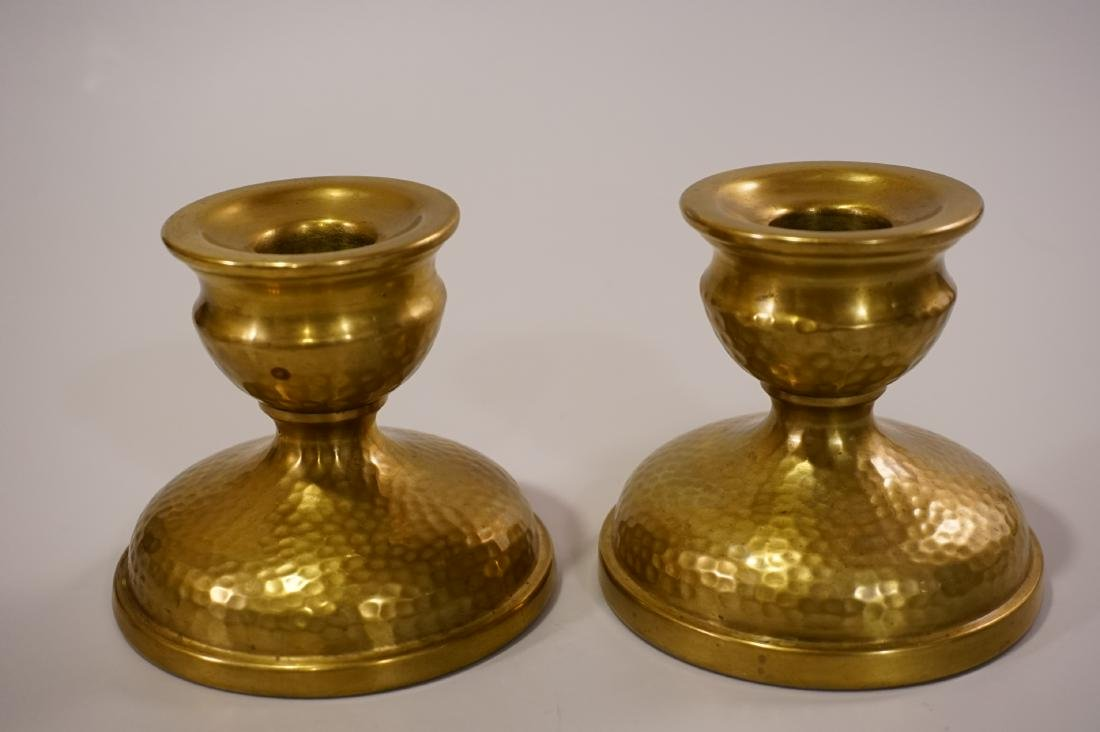 Vintage Art Craft Period Hammered Brass Candleholders