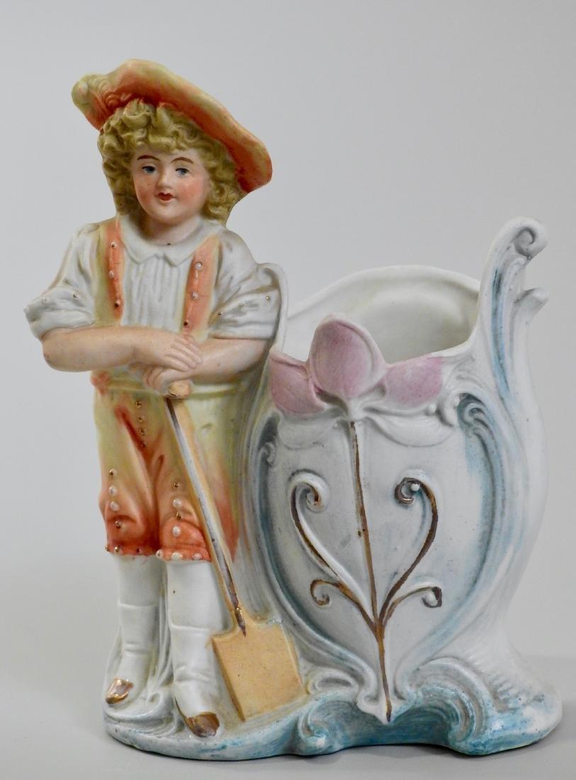 German Gardening Boy Antique Bisque Porcelain Spill