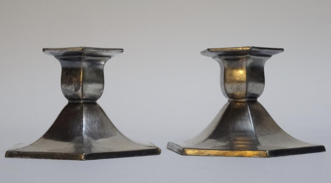 Antique Art & Craft Period Silver Plated Candleholders