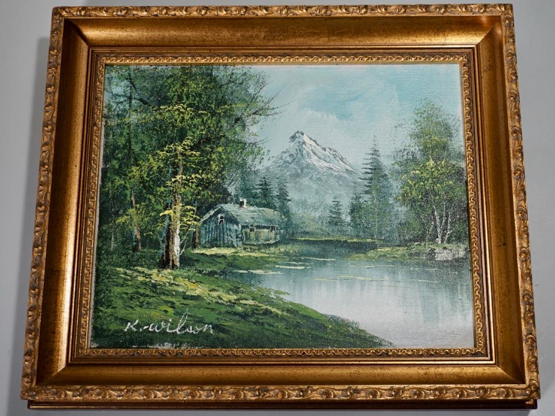 Oil on Canvas Landscape Painting Artist Signed Gold