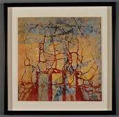 Artist Signed Mixed Media Vintage Abstract Mid Century