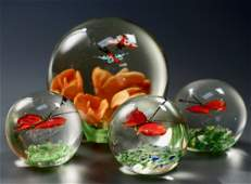 Butterfly Flowers Paperweight Lot of 4 Paperweights