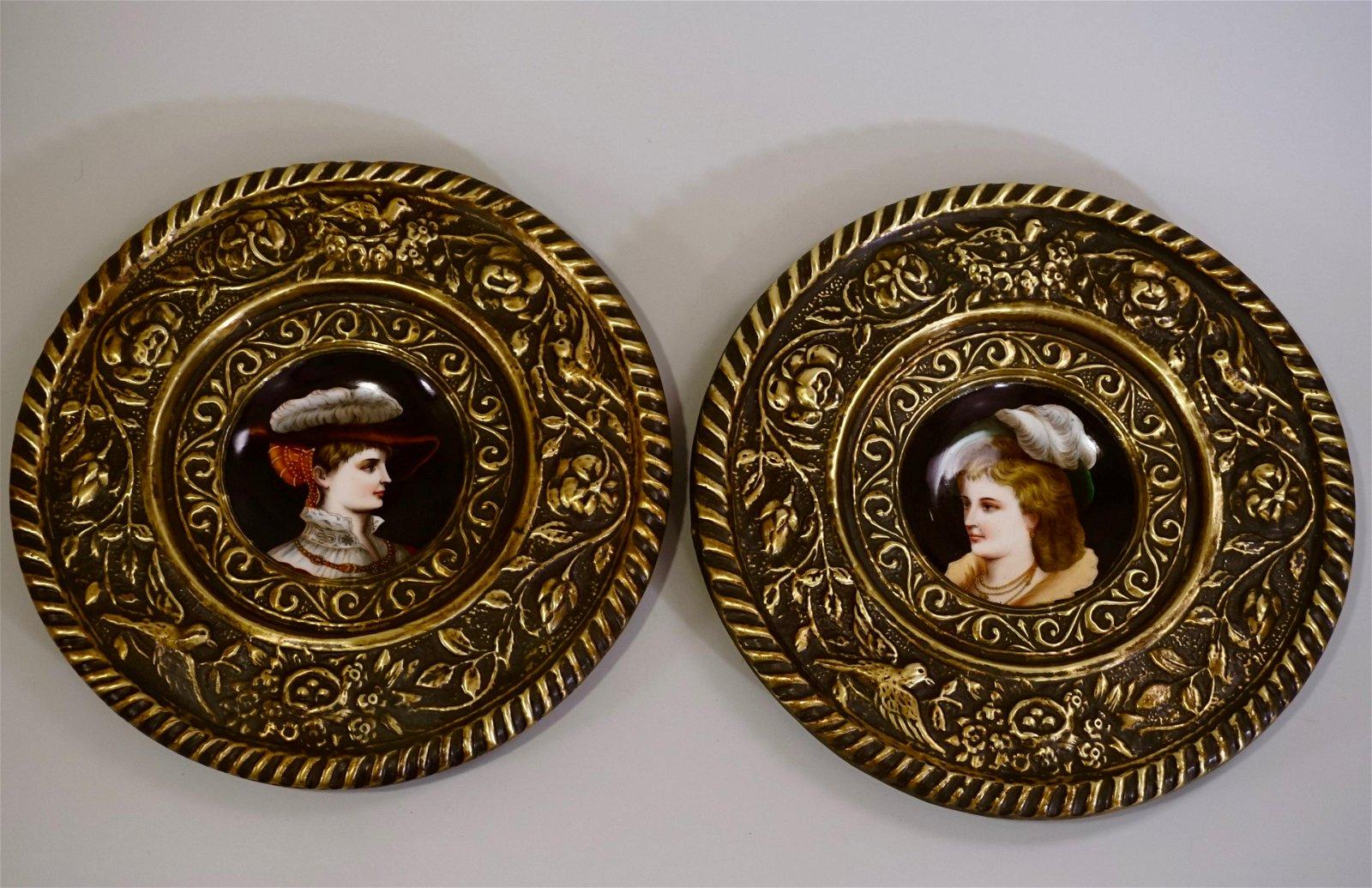 Renaissance Brass Framed Porcelain Hand Painted Plaques