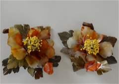 Oriental Jadeite Hard Stone Carved Flower Candleholder