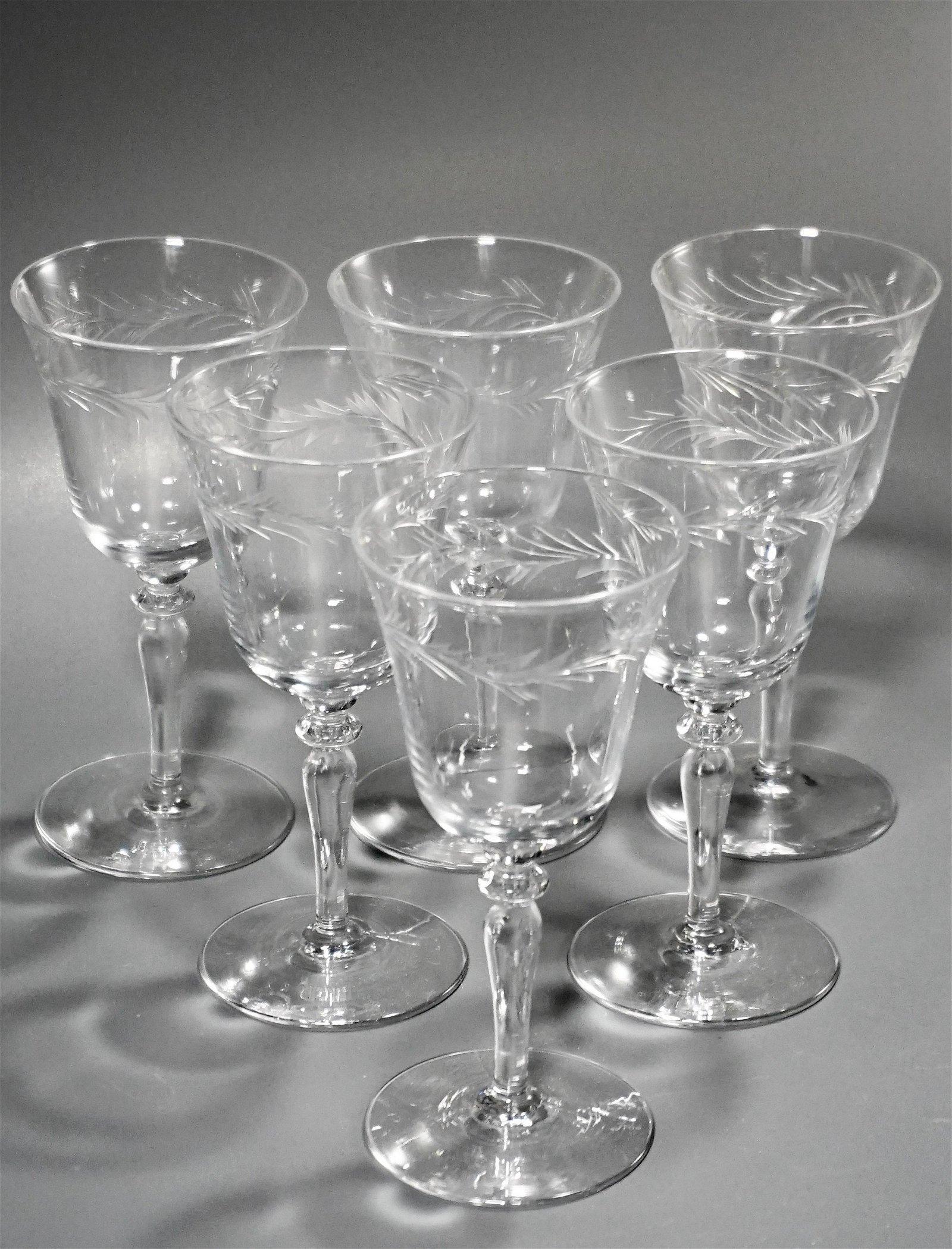 Vintage Elegant Cut Glass Wines Stemware Set of 6
