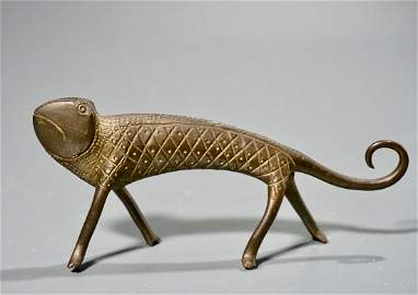 Whimsical Cast Brass Lizard Figurine