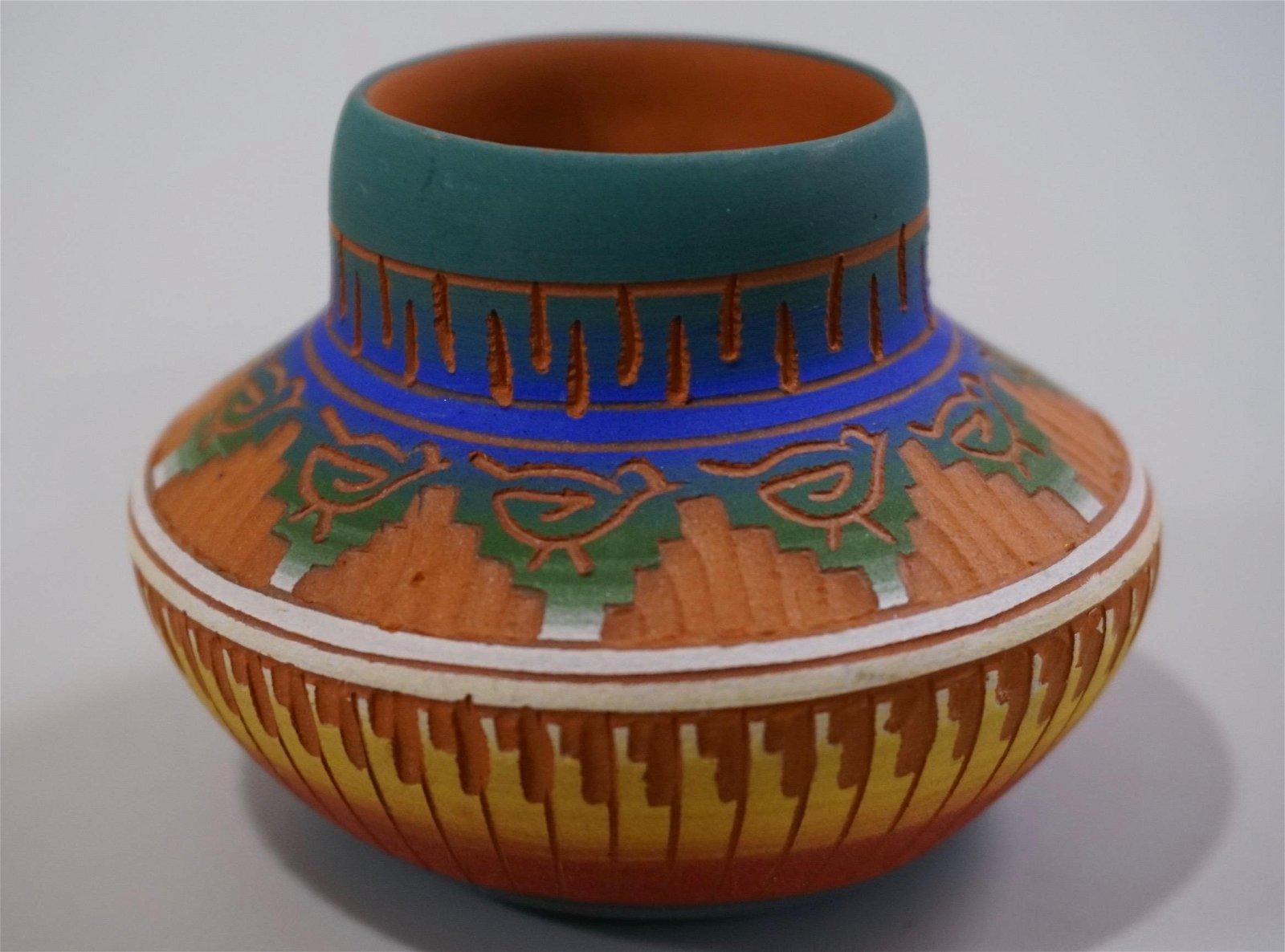 Hand Etched Navajo Pottery Vase Signed Monisha Etsitty