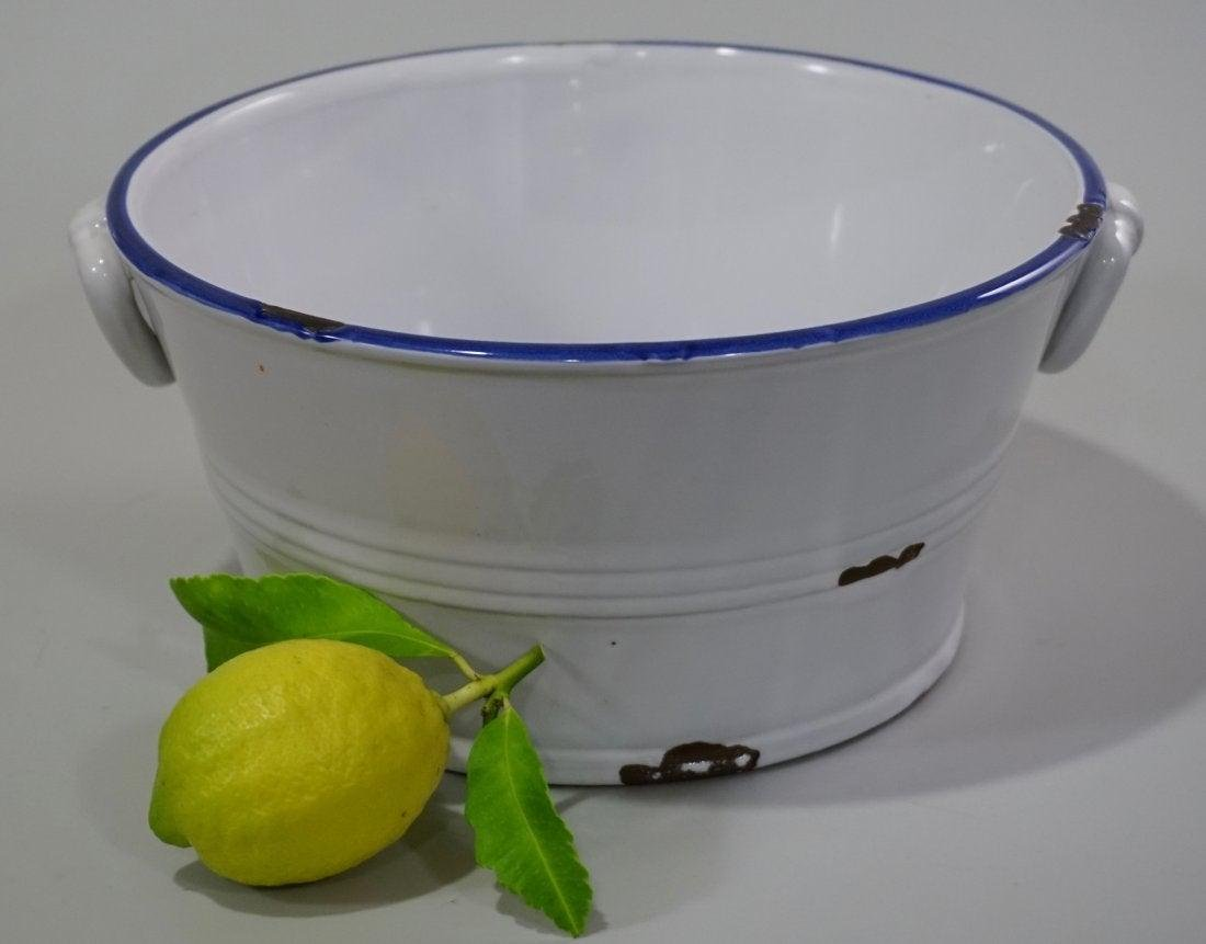 Old Enameled Bowl Faux Tin Trompe Loeil Ceramic Planter