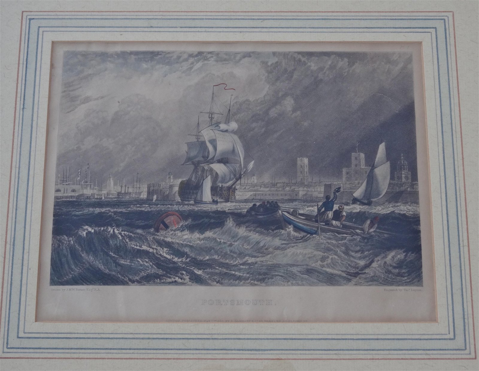 Antique J.M.W.Turner Portsmouth Hand Colored Engraving