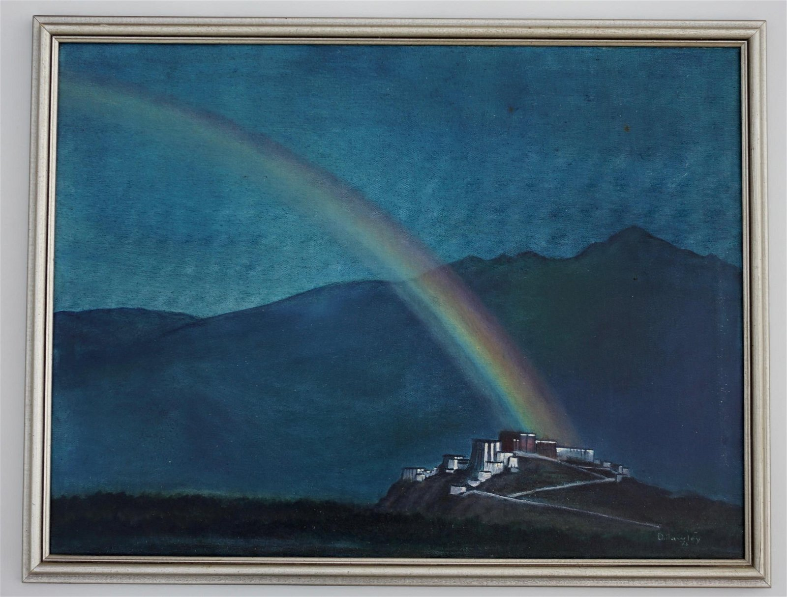 Rainbow Landscape Framed Oil on Canvas Signed Painting