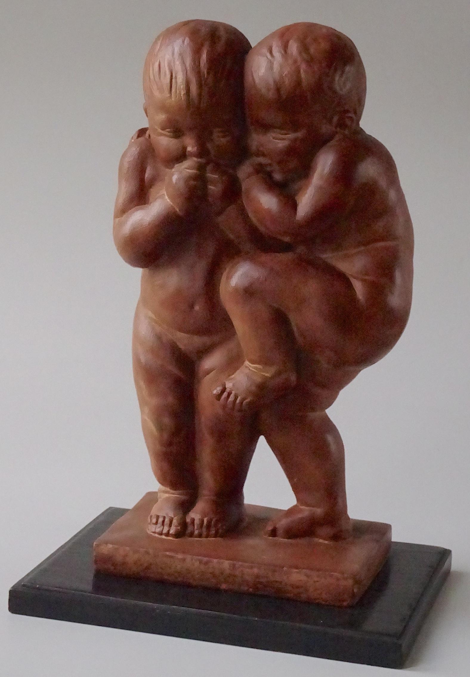 Mid Century Cast Stone Humorous Naked Babies Statue on