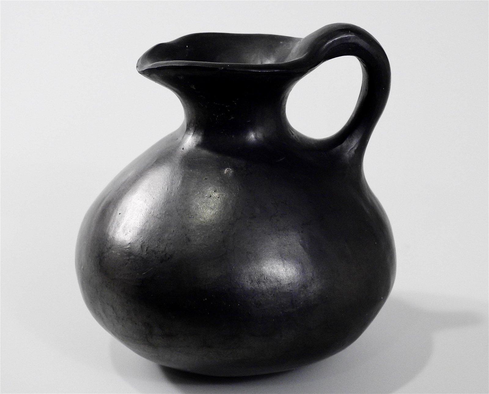Basalt Clay Black Pottery Hand Made Jug Folk Art Vase